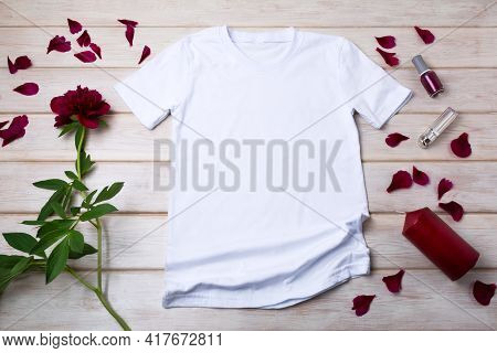 Women T-shirt Mockup With Red Peony