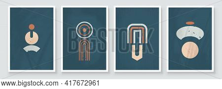 Abstract Geometric Shape Art Illustration. Set Of Soft Color Painting Wall Art For House Decoration.