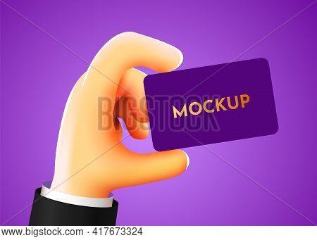 3d Cartoon Hand Holding Business Card. Advertising Mockup.