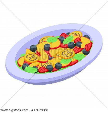 Berry Fruit Salad Icon. Isometric Of Berry Fruit Salad Vector Icon For Web Design Isolated On White