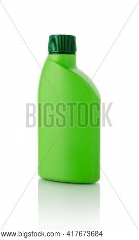 Liquid  Houseplant Fertilizer In A Green Plastic Bottle With Cap Isolated On White Background. Unlab