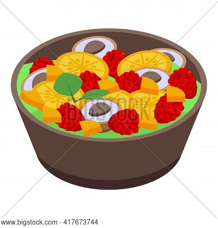 Home Fruit Salad Icon. Isometric Of Home Fruit Salad Vector Icon For Web Design Isolated On White Ba