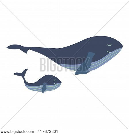 Mother Blue Whale With A Small Child Swim Calmly And Happily. Mothers Day. Colorful Vector Isolated