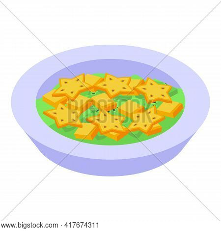 Organic Fruit Salad Icon. Isometric Of Organic Fruit Salad Vector Icon For Web Design Isolated On Wh