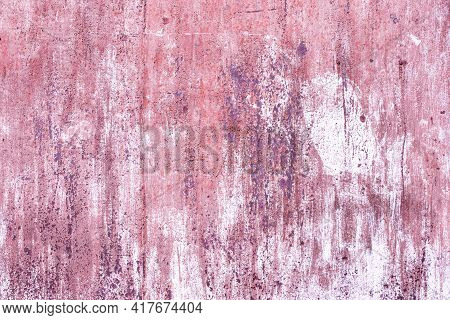 Pink, Wood Texture Backgrounds. Roughness. Lilac Old Shabby Wall. Cracks And Peeling Paint. Wood Tex