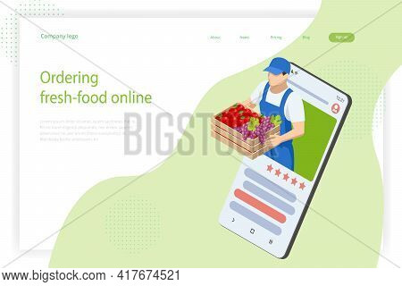 Online Grocery Store. Organic Fresh Products. Isometric Organic Farm Food