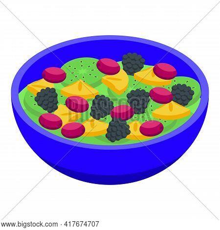 Blackberry Fruit Salad Icon. Isometric Of Blackberry Fruit Salad Vector Icon For Web Design Isolated