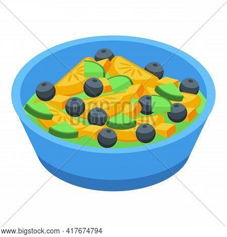Blueberry Fruit Salad Icon. Isometric Of Blueberry Fruit Salad Vector Icon For Web Design Isolated O
