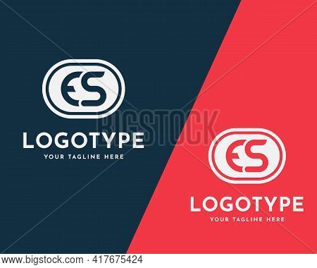 Letter Es, Se, E S, E Or S Logo Design In Red And Blue Colors. Creative Modern Initials Vector Icon