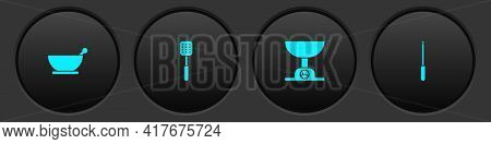 Set Mortar And Pestle, Spatula, Electronic Scales And Knife Sharpener Icon. Vector