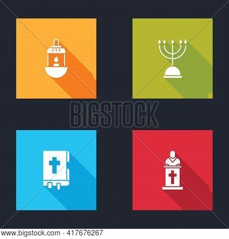 Set Ramadan Kareem Lantern, Hanukkah Menorah, Holy Bible Book And Church Pastor Preaching Icon. Vect