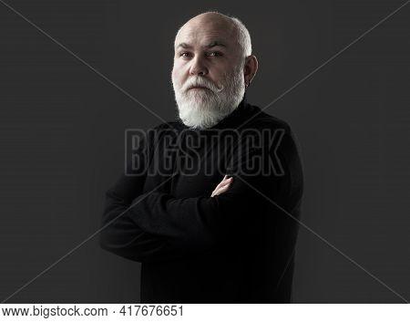Senior Man On Black. Elderly Mature Male Close Up Portrait. Modern Grandfather, Grandpa.