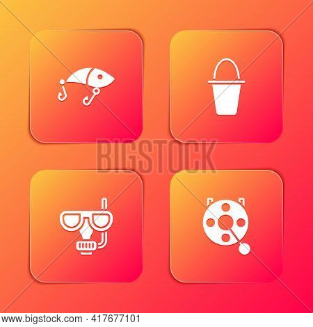 Set Fishing Lure, Bucket, Diving Mask And Snorkel And Spinning Reel For Fishing Icon. Vector