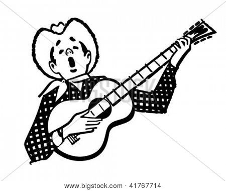 Singing Cowboy - Retro Clipart Illustration
