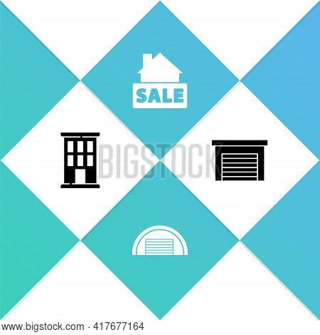 Set House, Garage, Hanging Sign With Sale And Icon. Vector