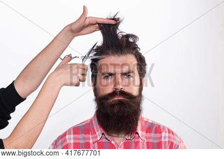 Barber Haircut. Haircare Procedures. Hairdresser Cuts Hair With Scissors. Man With Long Beard, Musta