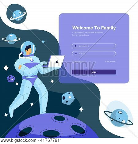 Login Page Design Concept Illustration, Astronaut In The Space Vector Concept