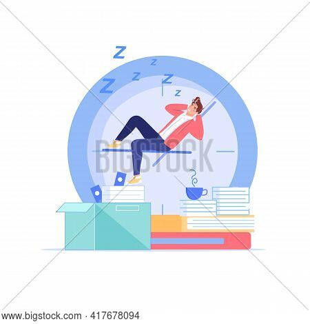 Vector Cartoon Flat Manager Office Worker Character Procrastinating At Workplace.bad Employee Sleepi