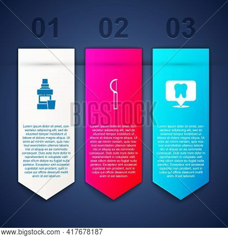 Set Mouthwash Bottle, Dental Floss And Clinic Location. Business Infographic Template. Vector