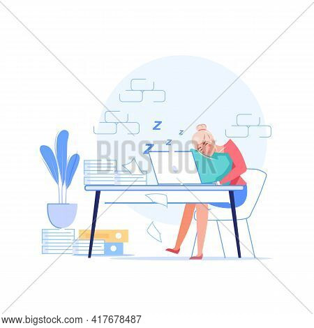 Vector Cartoon Flat Manager Office Worker Character Procrastinating At Workplace.lazy Bad Employee S