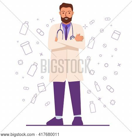 Male Doctor Wearing White Coat.portraits Of Male Medical Worker.