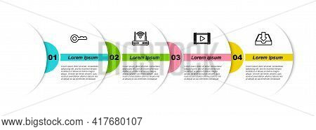 Set Line Key, Router And Wi-fi, Play Video And Download Inbox. Business Infographic Template. Vector