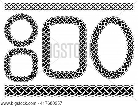 Celtic Frames And Borders.traditional Medieval Celtic Ornament For Arious Shapes, Circle, Square And