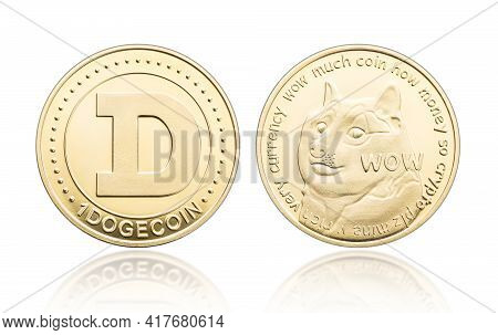 Dogecoin Coin Isolated On White Background. Cryptocurrency