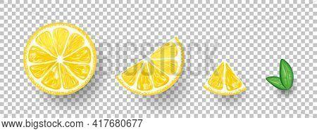 Lemons. Fresh Citrus, Half Sliced Lemons And Chopped Lemon. Vector Illustration