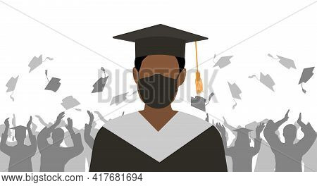Graduate Boy In Medical Face Mask And Mantle And Mortarboard On Background Of Group Of Graduates Thr