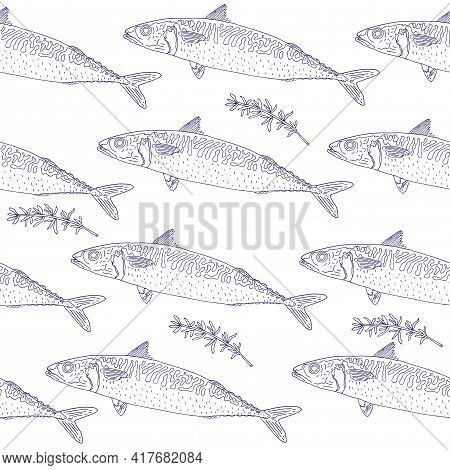Seamless Pattern Of Fish Mackerel And Thyme, Hand Drawn. Can Be Used For Packaging, Menu, Restaurant