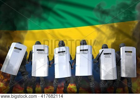 Gabon Protest Fighting Concept, Police Swat Protecting Order Against Riot - Military 3d Illustration