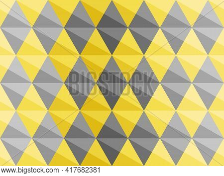 Yellow, Gray, 3d Diamond Shape Pattern. Seamless Abstract Background.. Color Trend 2021. Textured De