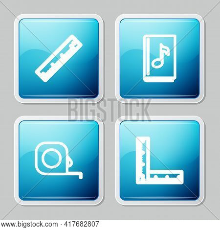 Set Line Ruler, Audio Book, Roulette Construction And Folding Ruler Icon. Vector