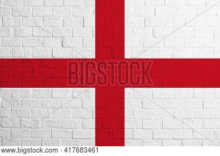 Flag Of England. Brick Wall Texture Of The Flag Of England.
