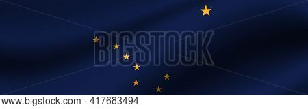 Banner With The Flag Of Alaska. Fabric Texture Of The Flag Of Alaska.