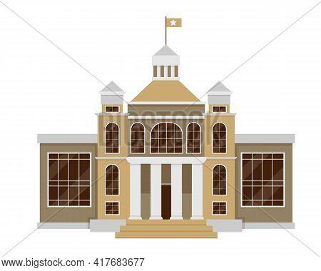 Facade Of Court House, Bank Or Public Building