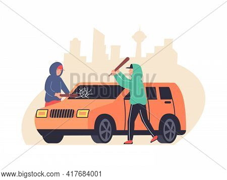 Two Vandals Breaking Car Windows With Bats Flat Composition Vector Illustration
