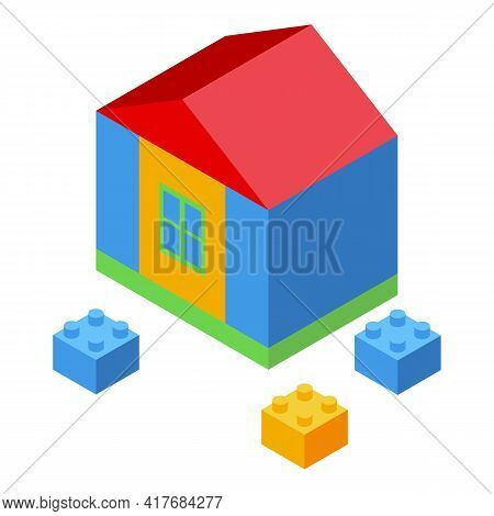 Kid House Constructor Icon. Isometric Of Kid House Constructor Vector Icon For Web Design Isolated O