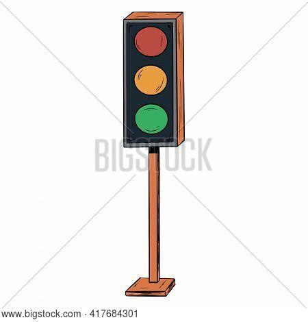 Traffic Light. Rugelator Of Road Traffic. Road Traffic Light. Cartoon Style.