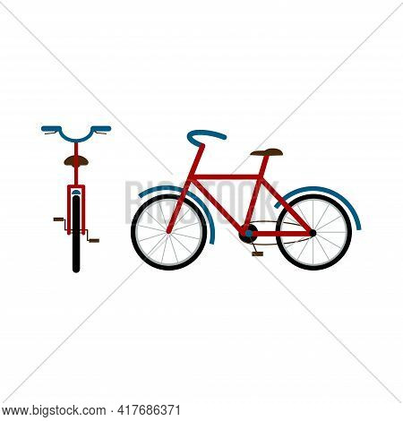 Travel Bicycle, Front And Side View. Bike For Travel. Hobby. Flat Style Vector Illustration Isolated