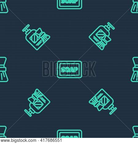 Set Line Bar Of Soap With Foam, Shaving Gel And Brush And On Seamless Pattern. Vector