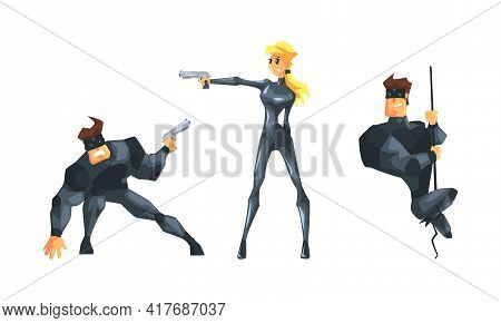 Male And Female As Undercover Secret Agent Engaged In Espionage Or Spying Vector Set