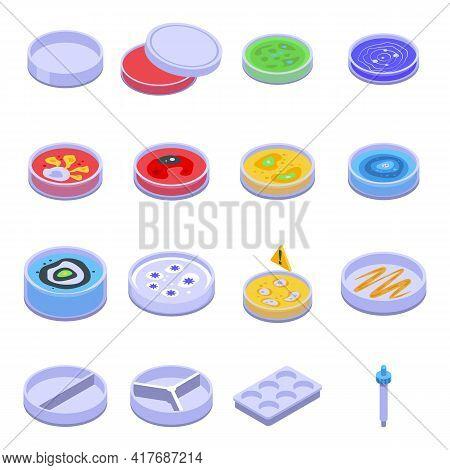 Petri Dish Icons Set. Isometric Set Of Petri Dish Vector Icons For Web Design Isolated On White Back