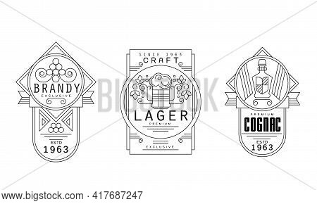 Alcohol Labels With Brandy, Lager And Cognac Vector Set
