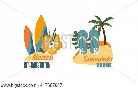 Composition With Surfboard And Flip Flops As Beach Holiday And Summer Vacation At Sea Shore Vector S