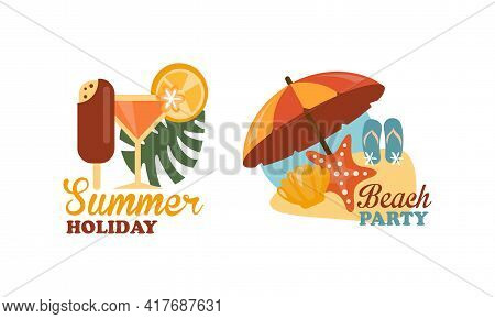 Composition With Cocktail And Sun Umbrella As Beach Holiday And Summer Vacation At Sea Shore Vector