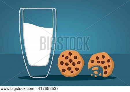 Cookies And Milk. Glass Of Milk And Two Cookies. Tasty Breakfast. The Concept Of Proper Nutrition. M