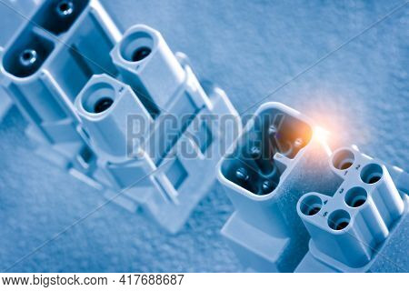 Industrial Socket. Industrial Electrical Outlet. Industrial  Lectrical Energy  Concept Background In