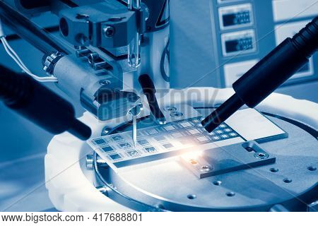 Automatic Machinery For Soldering Electronic Components. Soldering Iron Tips Of Robotic System For A